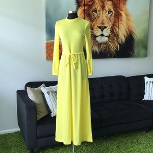 Vintage 70s yellow oshun long sleeve maxi dress S